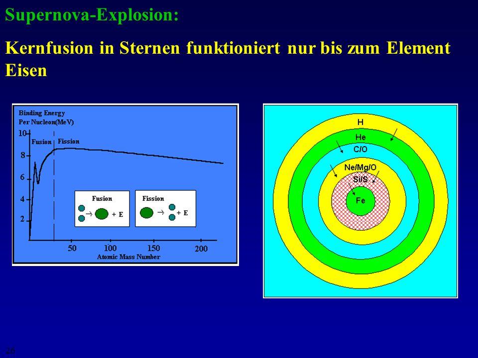 25 Supernovae vom Typ Ia: Massentransfer von Begleiterstern auf einen Weißen Zwerg in einem Binärsystem: A) Zwergstern unterhalb Chandrasekhar-Limit (