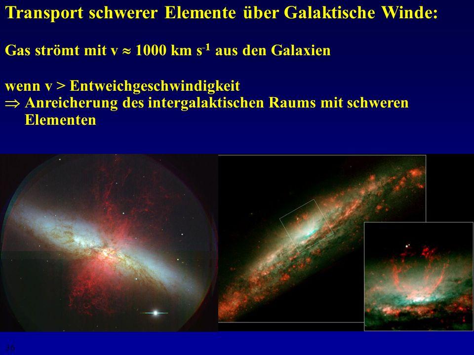 35 Bedeutung der Supernovae Lieferant schwerer Elemente (bis Uran) Mechanismus zur Verteilung schwerer Elemente im inter- stellaren Medium (Galaxien)