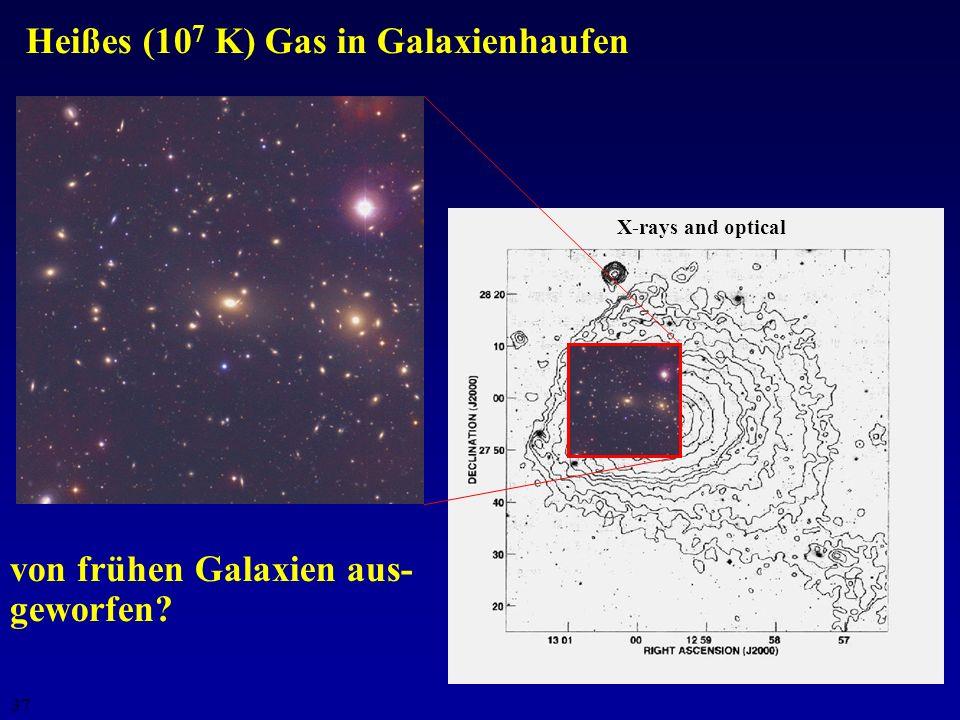 36 Transport schwerer Elemente über Galaktische Winde: Gas strömt mit v 1000 km s -1 aus den Galaxien wenn v > Entweichgeschwindigkeit Anreicherung de