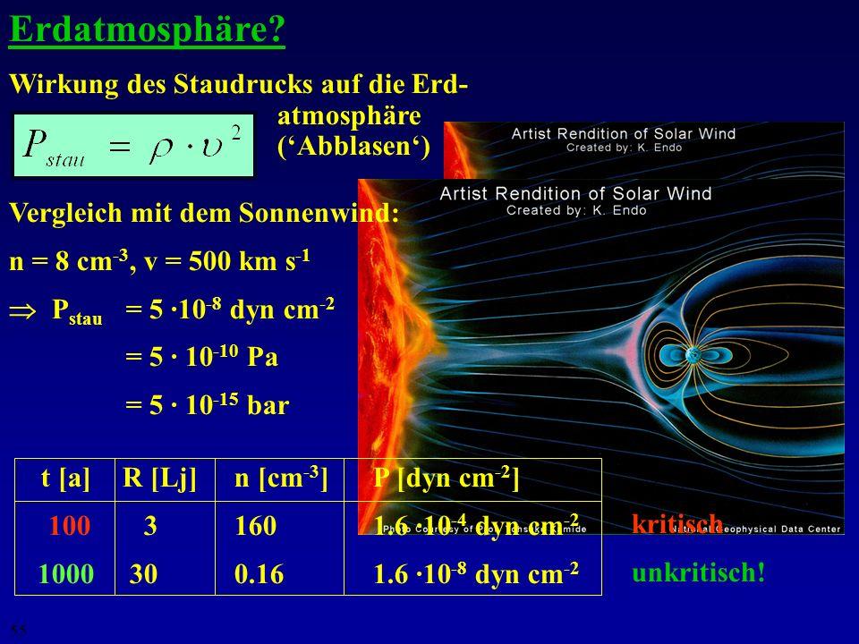 54 D Q = 6 Sv wird bei r = 170 AU erreicht (Pluto: ~ 40 AU) kein Problem...!... und somit die kritische Entfernung r crit