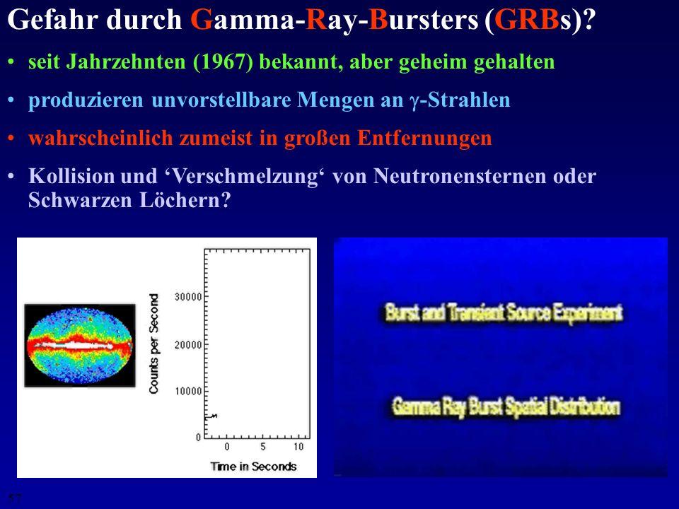 56 Gefahr für die Erdatmosphäre durch X-rays und s? Vergleich mit solaren Flares: SatellitEnergiebereichDauer Fluß Yohkoh20 - ? keV 10 s0.35 J m -2 Co