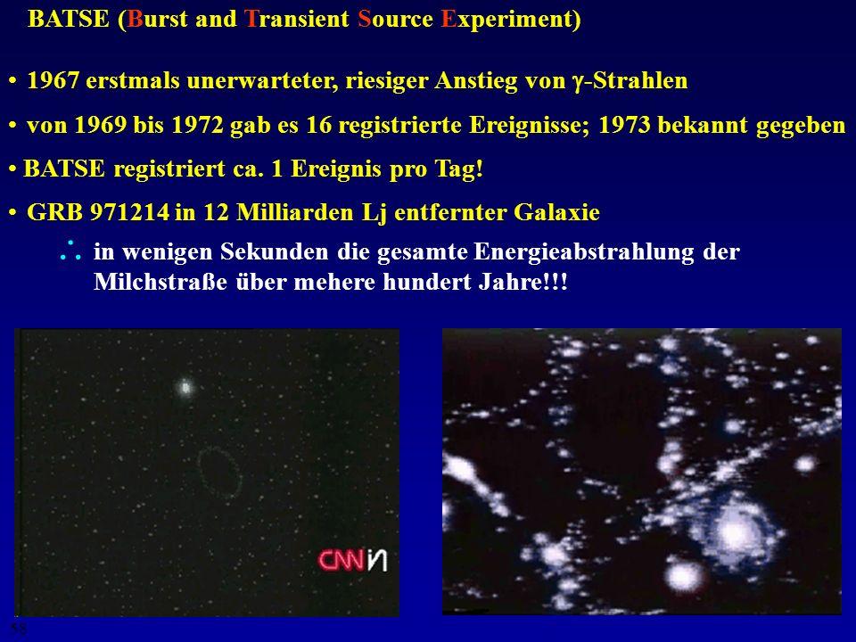 57 Gefahr durch Gamma-Ray-Bursters (GRBs)? seit Jahrzehnten (1967) bekannt, aber geheim gehalten produzieren unvorstellbare Mengen an -Strahlen wahrsc