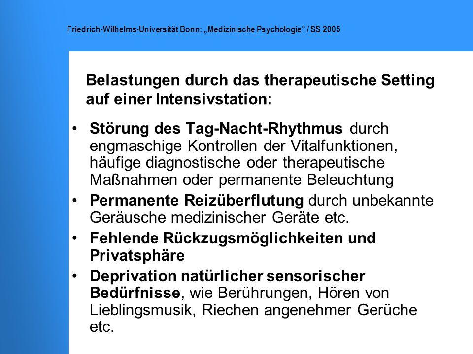 Friedrich-Wilhelms-Universität Bonn: Medizinische Psychologie / SS 2005 Akute Belastungsreaktion (ICD-10: F43.0) Wiedererleben des traumatischen Ereignisses in Form von sich aufdrängenden Erinnerungen oder flashbacks (Als-ob-Gefühle) bzw.