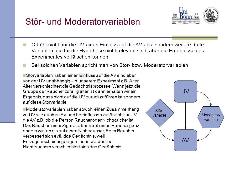 Stör- und Moderatorvariablen Oft übt nicht nur die UV einen Einfluss auf die AV aus, sondern weitere dritte Variablen, die für die Hypothese nicht rel