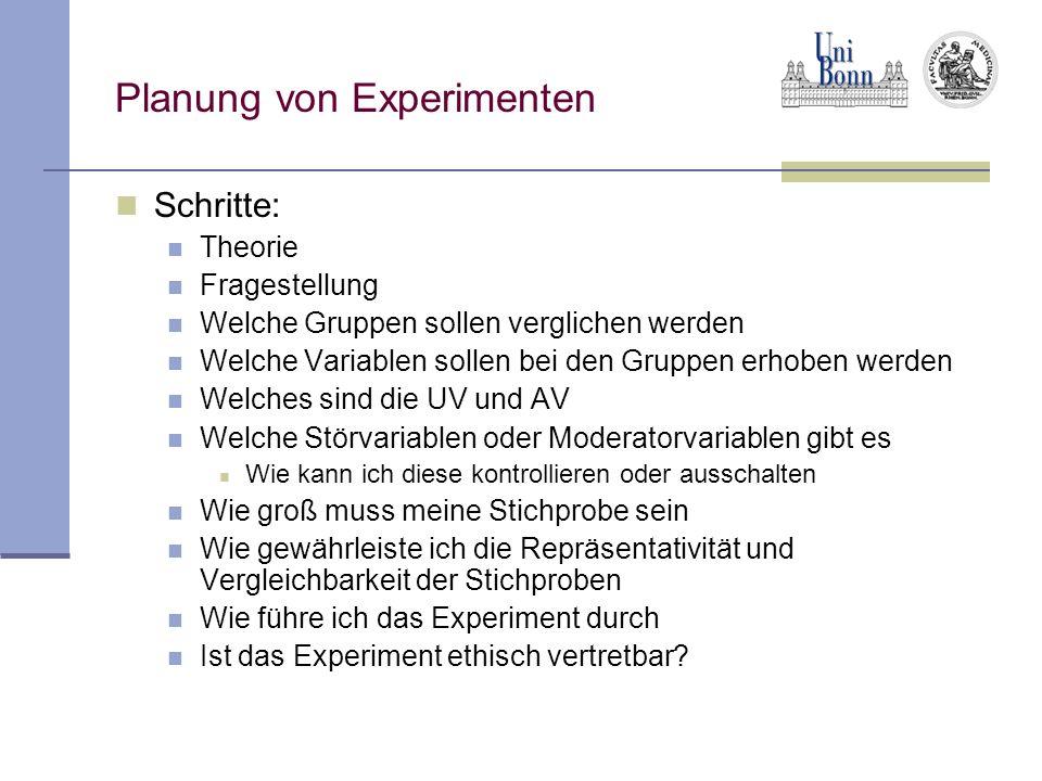 Planung von Experimenten Schritte: Theorie Fragestellung Welche Gruppen sollen verglichen werden Welche Variablen sollen bei den Gruppen erhoben werde