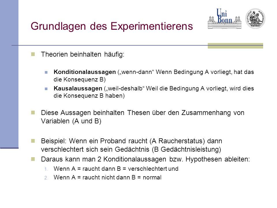 Grundlagen des Experimentierens Theorien beinhalten häufig: Konditionalaussagen (wenn-dann Wenn Bedingung A vorliegt, hat das die Konsequenz B) Kausal