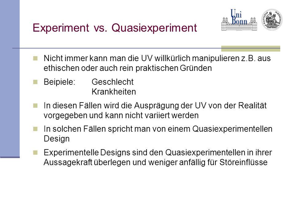 Experiment vs. Quasiexperiment Nicht immer kann man die UV willkürlich manipulieren z.B. aus ethischen oder auch rein praktischen Gründen Beipiele:Ges