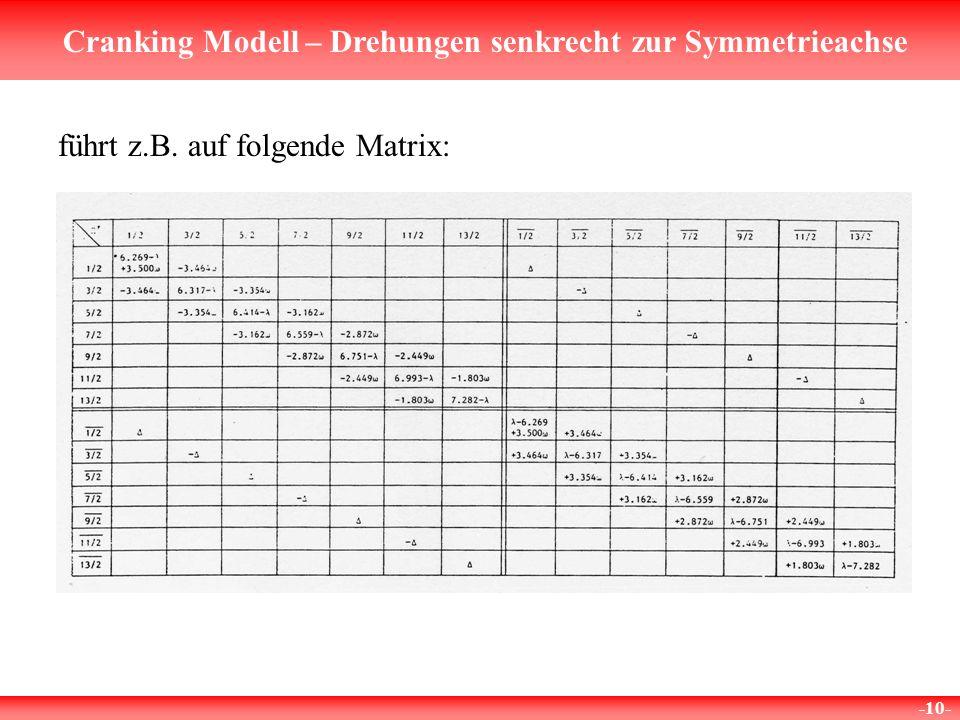 Cranking Modell – Drehungen senkrecht zur Symmetrieachse -10- führt z.B. auf folgende Matrix: