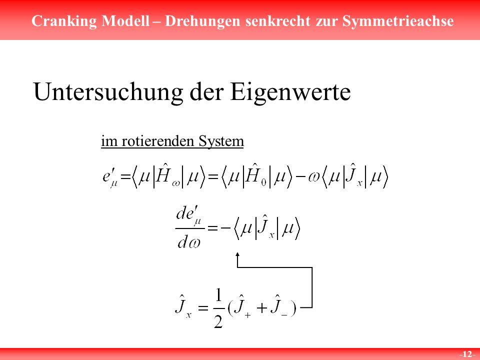 Cranking Modell – Drehungen senkrecht zur Symmetrieachse -12- Untersuchung der Eigenwerte im rotierenden System
