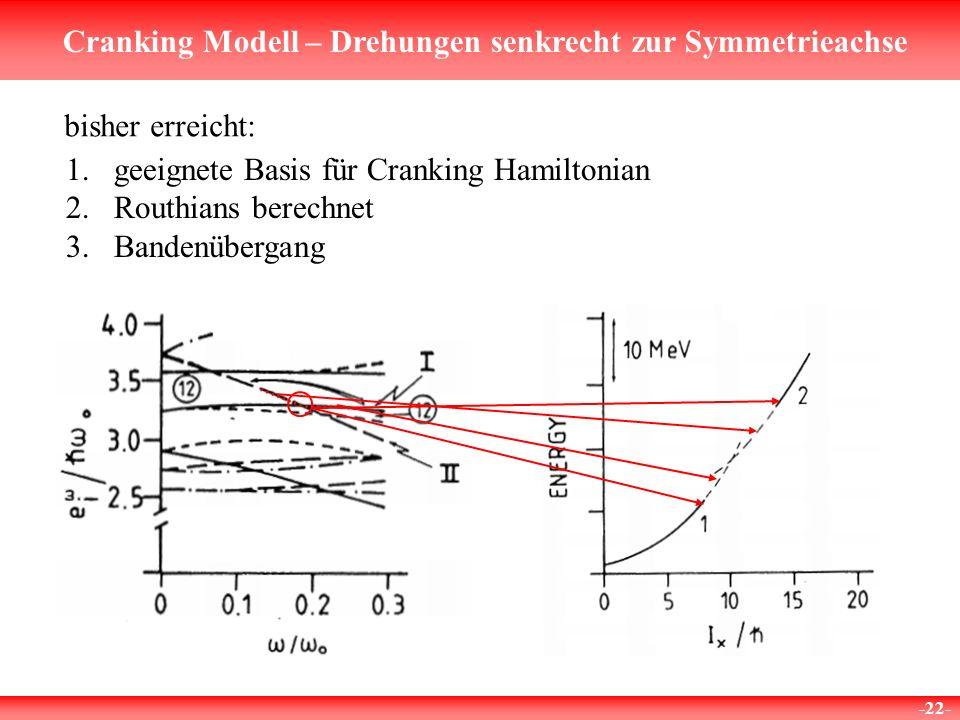 Cranking Modell – Drehungen senkrecht zur Symmetrieachse -22- bisher erreicht: 1.geeignete Basis für Cranking Hamiltonian 2.Routhians berechnet 3.Band