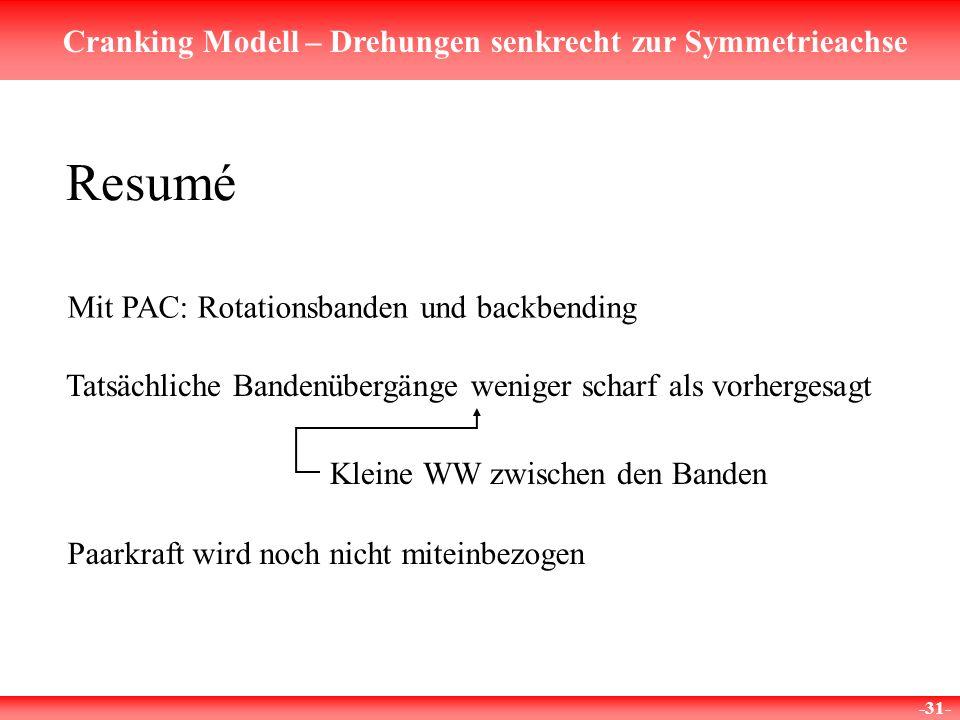 Cranking Modell – Drehungen senkrecht zur Symmetrieachse -31- Resumé Mit PAC: Rotationsbanden und backbending Tatsächliche Bandenübergänge weniger sch