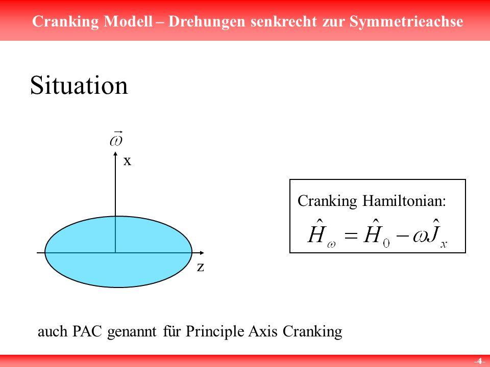 Cranking Modell – Drehungen senkrecht zur Symmetrieachse -5- Für nicht rotierte Eigenfunktionen gilt Y also keine Eigenfunktion zu Mixing Symmetrien, die nicht mischen:1.Parität 2.Signatur Behandlung der cranking equation aber
