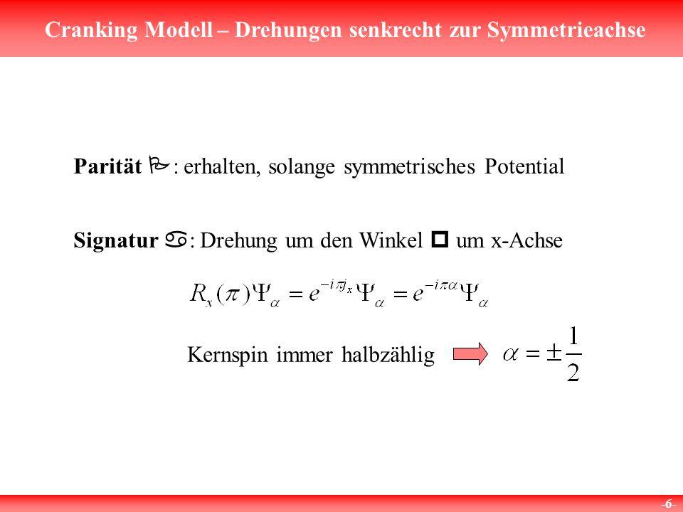 Cranking Modell – Drehungen senkrecht zur Symmetrieachse -6- Parität P : erhalten, solange symmetrisches Potential Signatur a : Drehung um den Winkel