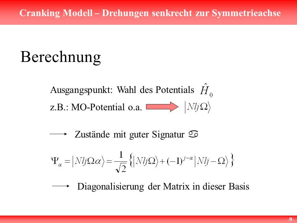 Cranking Modell – Drehungen senkrecht zur Symmetrieachse -9- Berechnung Ausgangspunkt: Wahl des Potentials Zustände mit guter Signatur a Diagonalisier