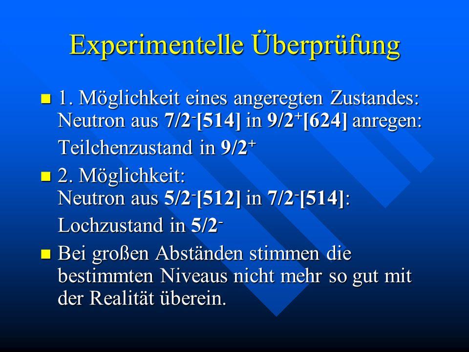 Experimentelle Überprüfung 1. Möglichkeit eines angeregten Zustandes: Neutron aus 7/2 - [514] in 9/2 + [624] anregen: 1. Möglichkeit eines angeregten