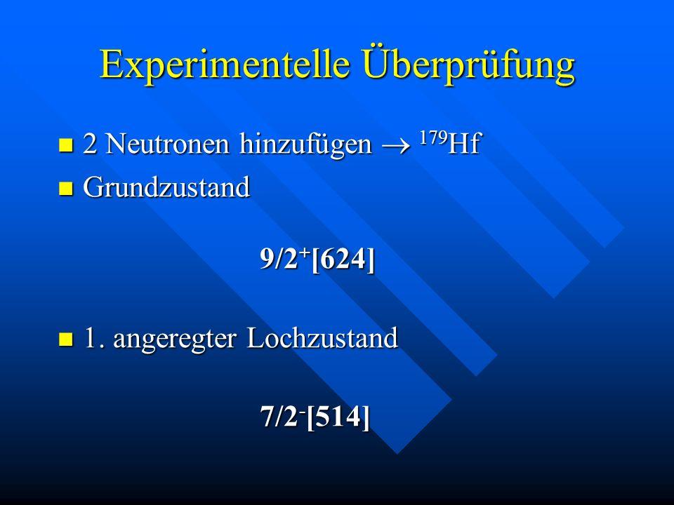 2 Neutronen hinzufügen 179 Hf 2 Neutronen hinzufügen 179 Hf Grundzustand 9/2 + [624] Grundzustand 9/2 + [624] 1. angeregter Lochzustand 1. angeregter