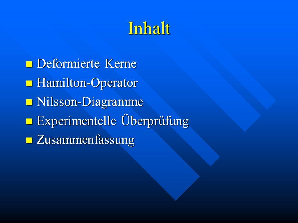 Inhalt Deformierte Kerne Deformierte Kerne Hamilton-Operator Hamilton-Operator Nilsson-Diagramme Nilsson-Diagramme Experimentelle Überprüfung Experime