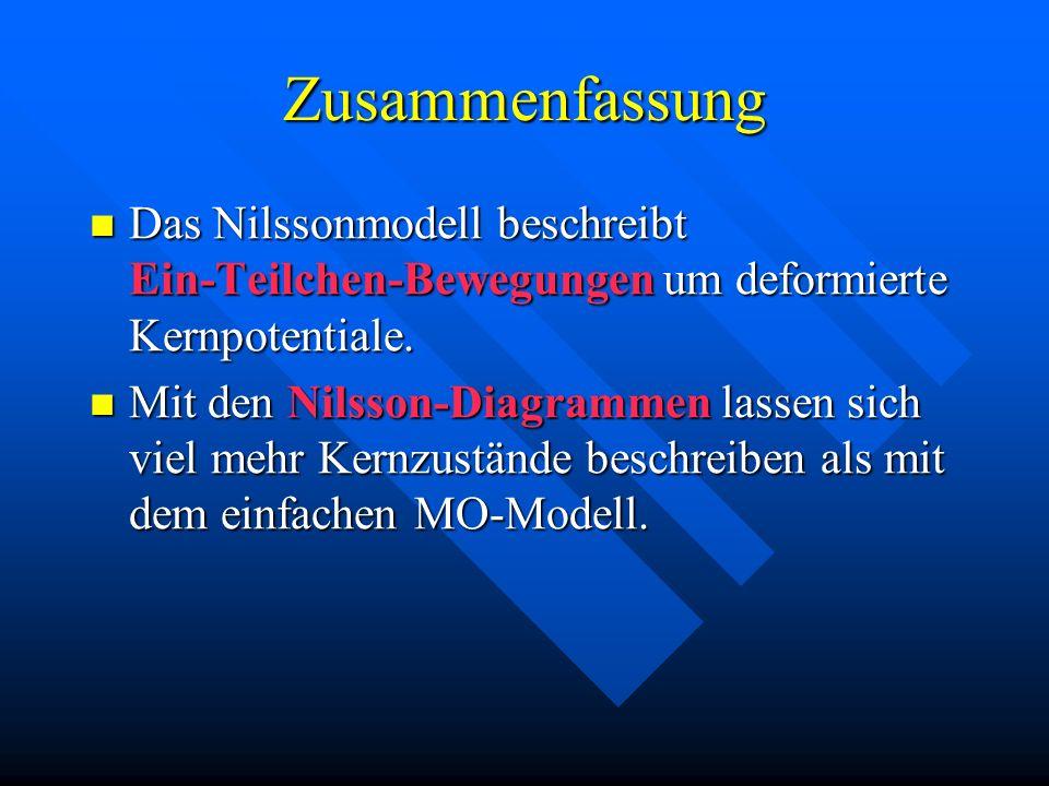 Zusammenfassung Das Nilssonmodell beschreibt Ein-Teilchen-Bewegungen um deformierte Kernpotentiale. Das Nilssonmodell beschreibt Ein-Teilchen-Bewegung