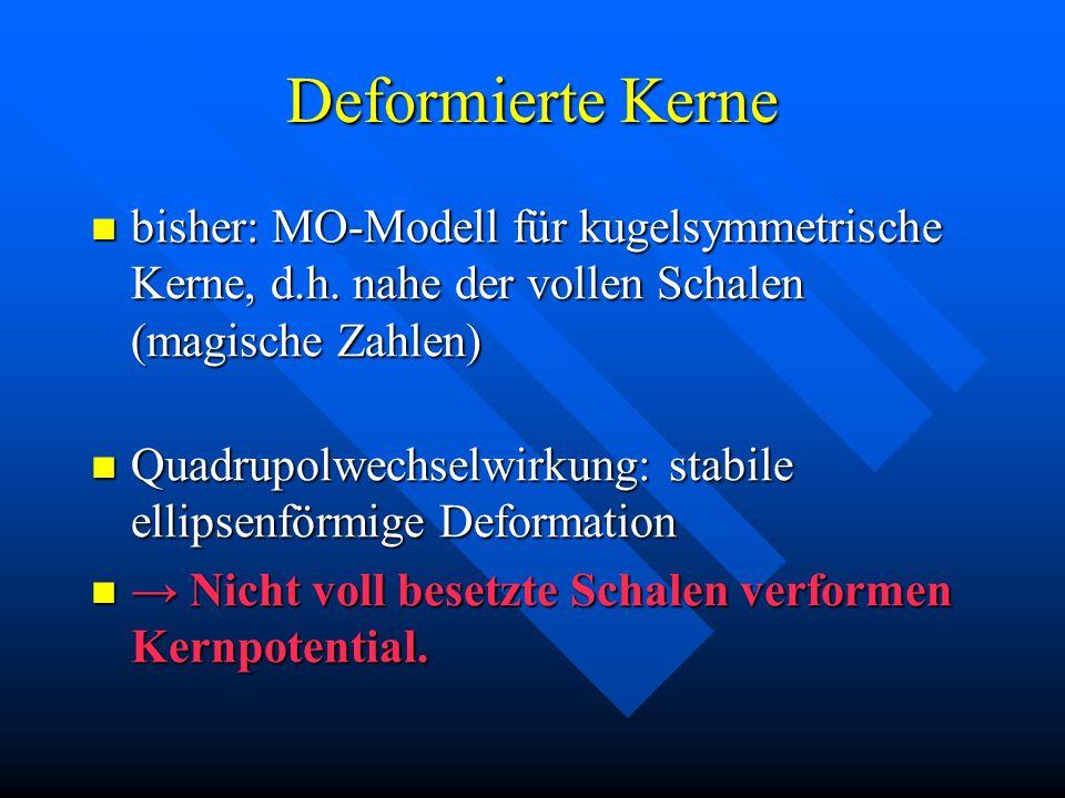 Deformierte Kerne bisher: MO-Modell für kugelsymmetrische Kerne, d.h. nahe der vollen Schalen (magische Zahlen) bisher: MO-Modell für kugelsymmetrisch