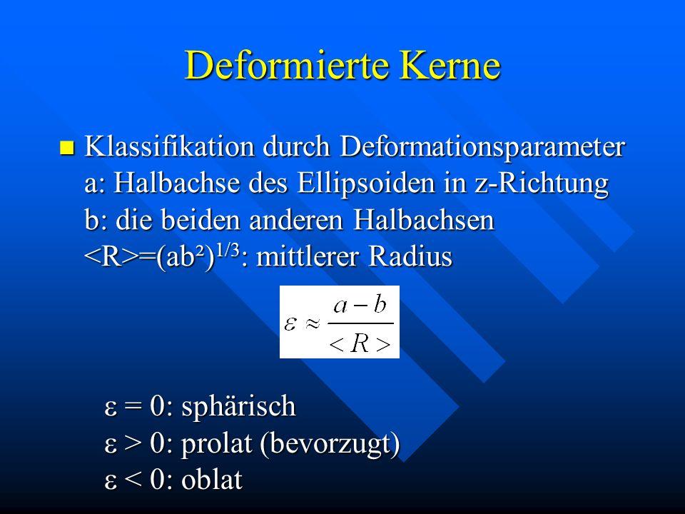 Deformierte Kerne Klassifikation durch Deformationsparameter a: Halbachse des Ellipsoiden in z-Richtung b: die beiden anderen Halbachsen =(ab²) 1/3 :