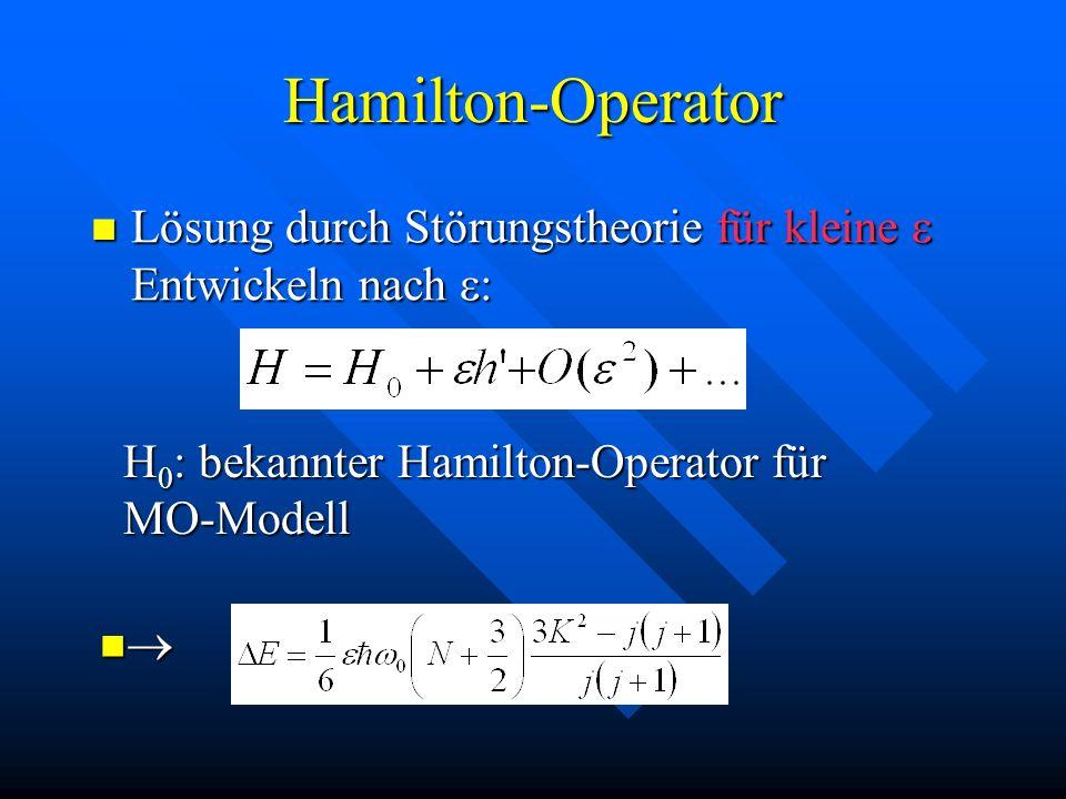 Hamilton-Operator Lösung durch Störungstheorie für kleine Entwickeln nach : Lösung durch Störungstheorie für kleine Entwickeln nach : H 0 : bekannter