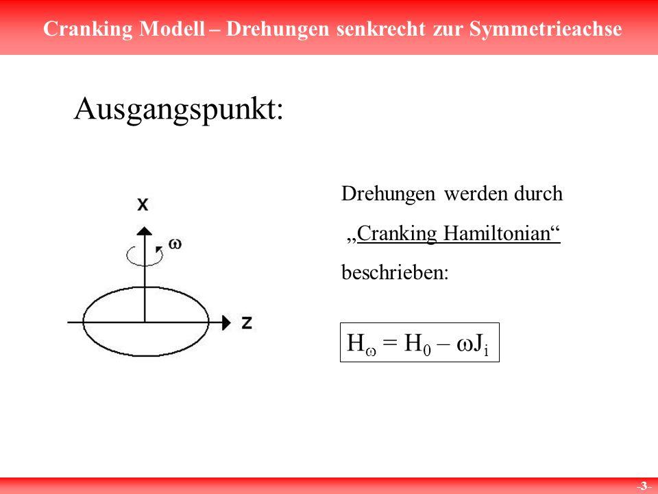 Cranking Modell – Drehungen senkrecht zur Symmetrieachse -3- Ausgangspunkt: H = H 0 – J i Drehungen werden durch Cranking Hamiltonian beschrieben: