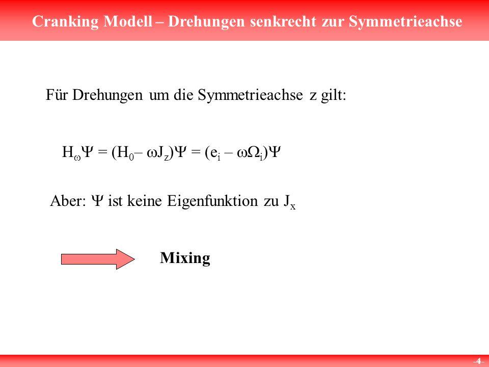 Cranking Modell – Drehungen senkrecht zur Symmetrieachse -4- Für Drehungen um die Symmetrieachse z gilt: H = (H 0 – J z ) = (e i – i Aber: ist keine Eigenfunktion zu J x Mixing