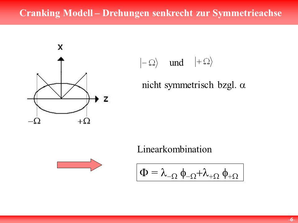 Cranking Modell – Drehungen senkrecht zur Symmetrieachse -7- Lösungen zerfallen in 4 unabhängige Gruppen: bzw.