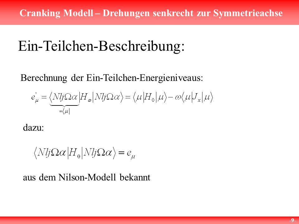 Cranking Modell – Drehungen senkrecht zur Symmetrieachse -9- Ein-Teilchen-Beschreibung: Berechnung der Ein-Teilchen-Energieniveaus: dazu: aus dem Nilson-Modell bekannt