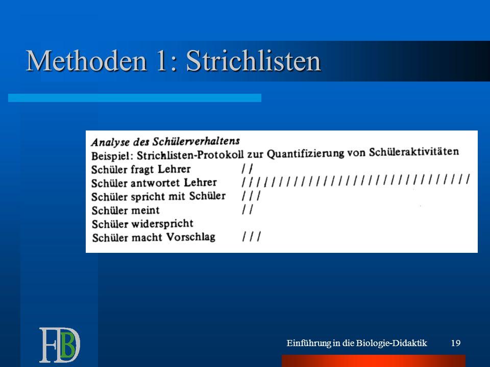 Einführung in die Biologie-Didaktik19 Methoden 1: Strichlisten