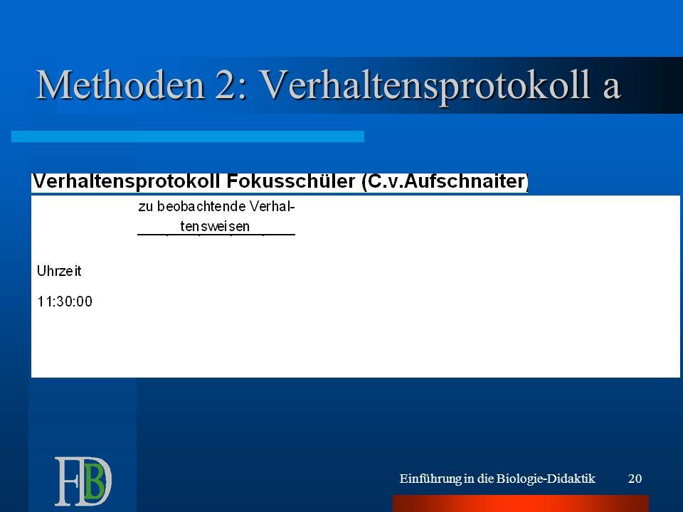 Einführung in die Biologie-Didaktik20 Methoden 2: Verhaltensprotokoll a