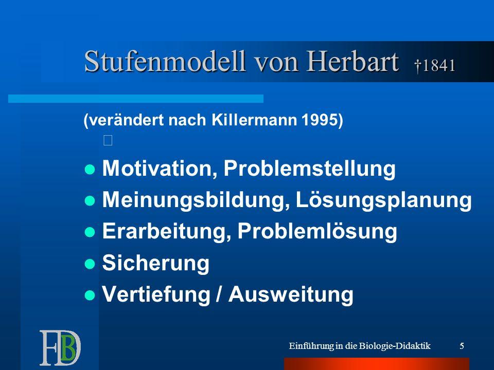 Einführung in die Biologie-Didaktik5 Stufenmodell von Herbart 1841 (verändert nach Killermann 1995) Motivation, Problemstellung Meinungsbildung, Lösun