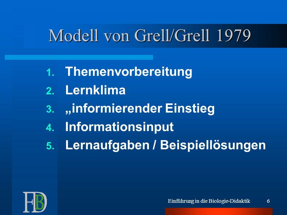 Einführung in die Biologie-Didaktik6 Modell von Grell/Grell 1979 1. Themenvorbereitung 2. Lernklima 3. informierender Einstieg 4. Informationsinput 5.
