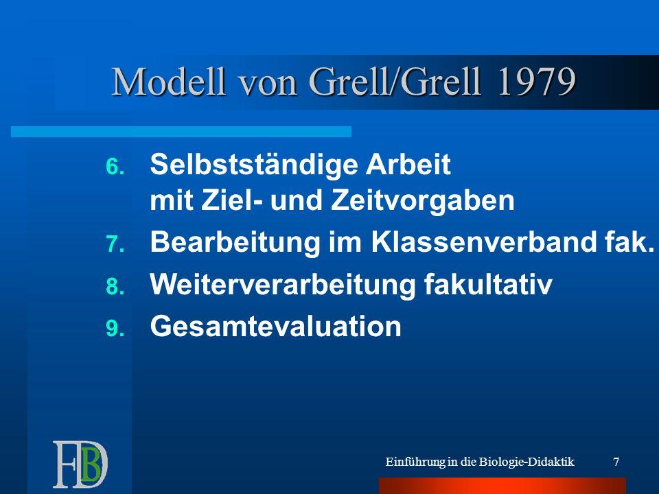 Einführung in die Biologie-Didaktik8 Modell von Grell/Grell 1979 Unterricht ist planbares Ereignis Lehrer initiiert ehrlich Schüler als mündige Menschen Alternative zum vorherrschenden Erarbeitungsunterricht