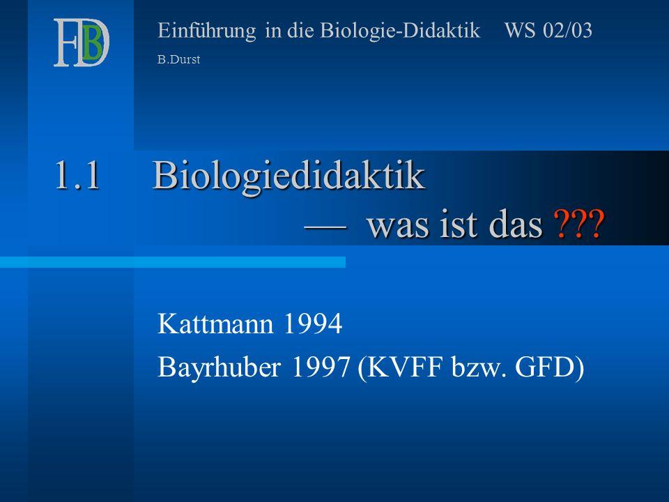 Einführung in die Biologie-Didaktik WS 02/03 B.Durst Biologiedidaktik –– was ist das ??.