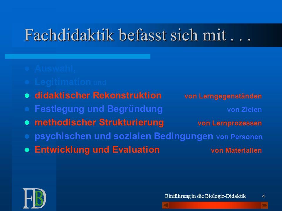 Einführung in die Biologie-Didaktik25 Lehrplan ––> Lehraufgabe !.
