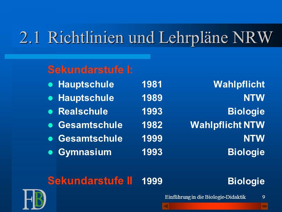 Einführung in die Biologie-Didaktik20 Lehrplan = Leerplan = Lernplan ?