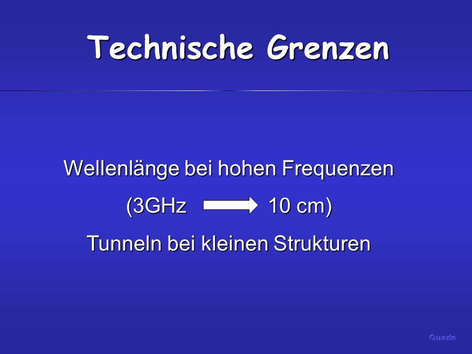 Technische Grenzen Wellenlänge bei hohen Frequenzen (3GHz 10 cm) Tunneln bei kleinen Strukturen