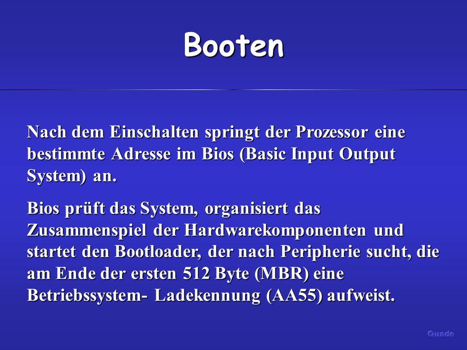 Booten Nach dem Einschalten springt der Prozessor eine bestimmte Adresse im Bios (Basic Input Output System) an. Bios prüft das System, organisiert da