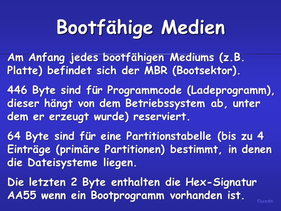 Bootfähige Medien Am Anfang jedes bootfähigen Mediums (z.B. Platte) befindet sich der MBR (Bootsektor). 446 Byte sind für Programmcode (Ladeprogramm),