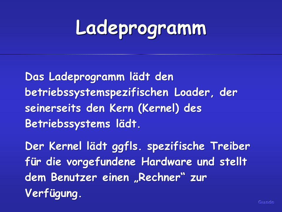 Ladeprogramm Das Ladeprogramm lädt den betriebssystemspezifischen Loader, der seinerseits den Kern (Kernel) des Betriebssystems lädt. Der Kernel lädt
