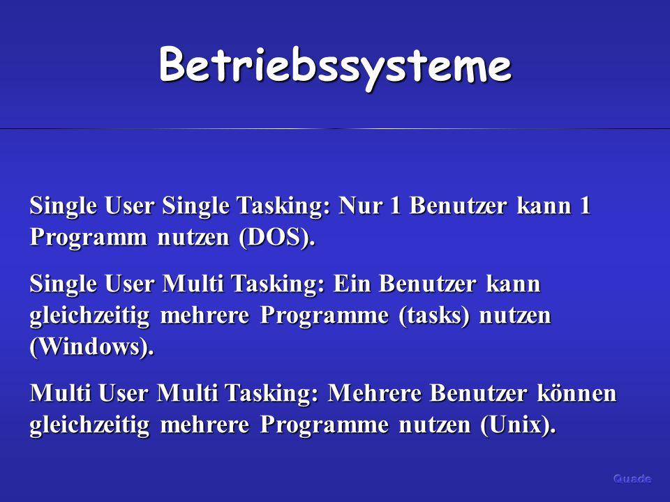 Betriebssysteme Single User Single Tasking: Nur 1 Benutzer kann 1 Programm nutzen (DOS). Single User Multi Tasking: Ein Benutzer kann gleichzeitig meh