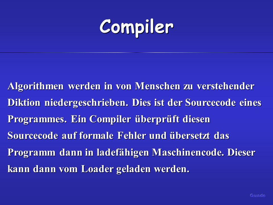 Compiler Algorithmen werden in von Menschen zu verstehender Diktion niedergeschrieben. Dies ist der Sourcecode eines Programmes. Ein Compiler überprüf