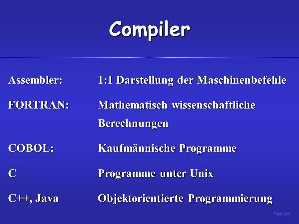 Compiler Assembler:1:1 Darstellung der Maschinenbefehle FORTRAN:Mathematisch wissenschaftliche Berechnungen COBOL:Kaufmännische Programme CProgramme unter Unix C++, JavaObjektorientierte Programmierung