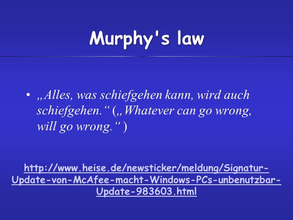 Murphy's law Alles, was schiefgehen kann, wird auch schiefgehen. (Whatever can go wrong, will go wrong. ) http://www.heise.de/newsticker/meldung/Signa