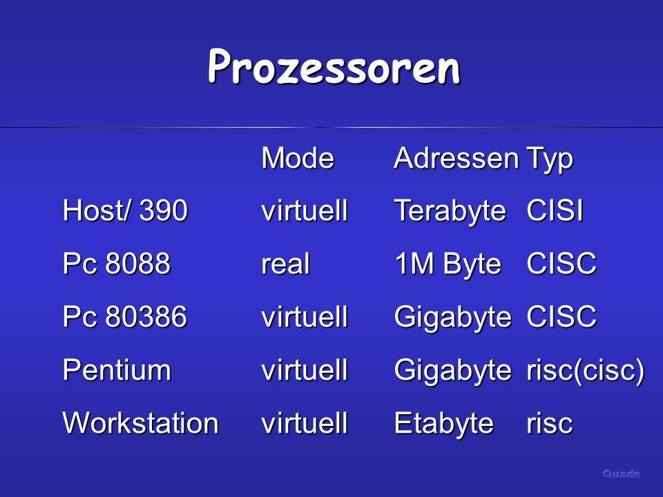 Prozessoren ModeAdressenTyp ModeAdressenTyp Host/ 390virtuellTerabyteCISI Pc 8088real1M ByteCISC Pc 80386virtuellGigabyteCISC PentiumvirtuellGigabyterisc(cisc) WorkstationvirtuellEtabyterisc