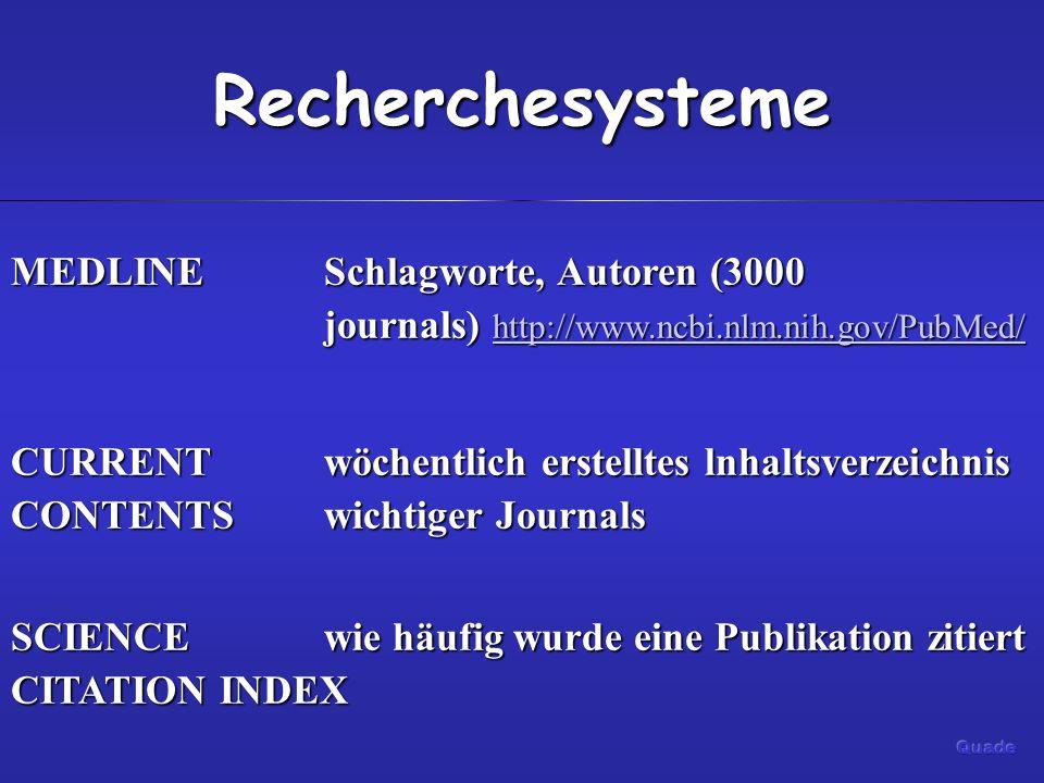 Recherchesysteme MEDLINESchlagworte, Autoren (3000 journals) http://www.ncbi.nlm.nih.gov/PubMed/ http://www.ncbi.nlm.nih.gov/PubMed/ CURRENTwöchentlich erstelltes lnhaltsverzeichnis CONTENTS wichtiger Journals SCIENCE wie häufig wurde eine Publikation zitiert CITATION INDEX
