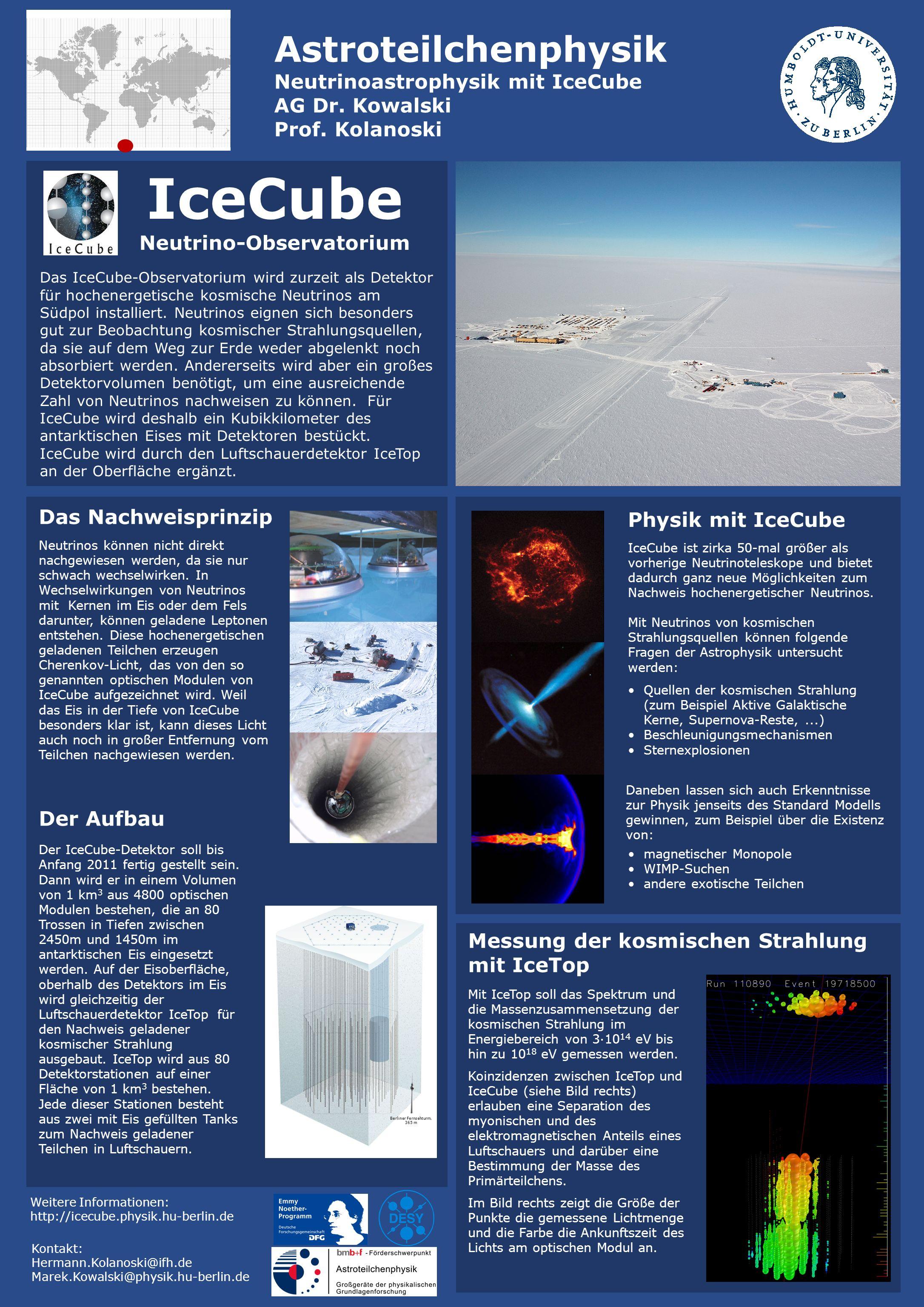 IceCube Neutrino-Observatorium Das IceCube-Observatorium wird zurzeit als Detektor für hochenergetische kosmische Neutrinos am Südpol installiert. Neu
