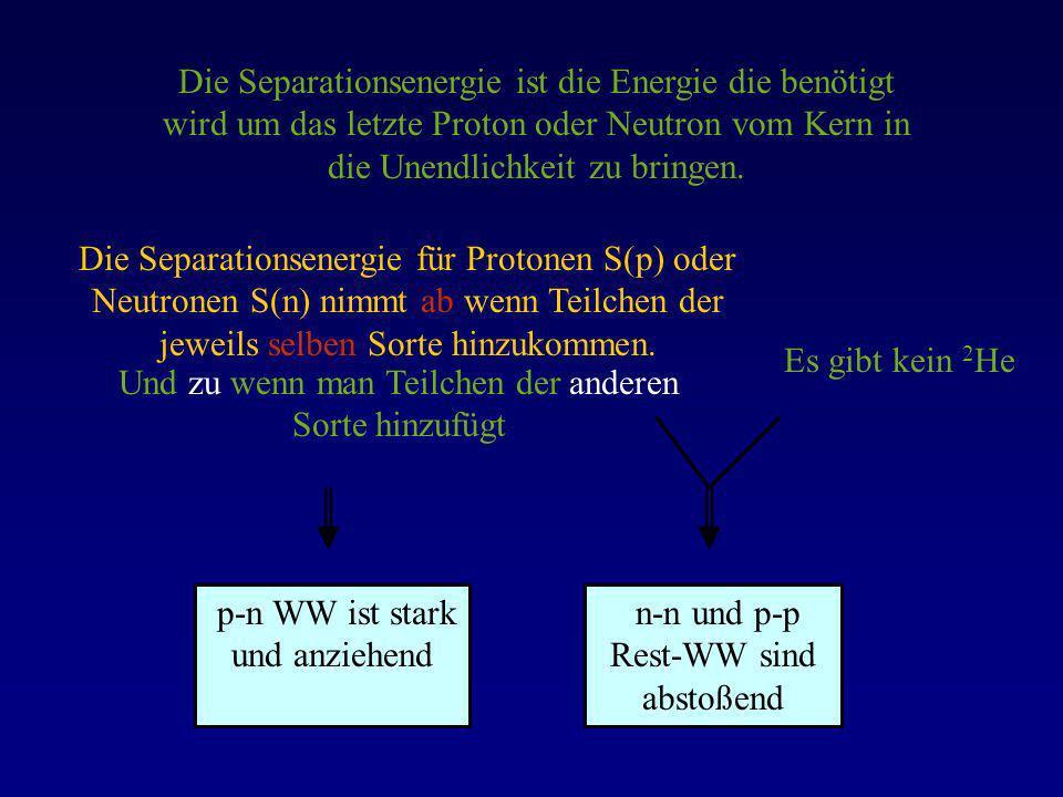 Die Separationsenergie ist die Energie die benötigt wird um das letzte Proton oder Neutron vom Kern in die Unendlichkeit zu bringen. Die Separationsen