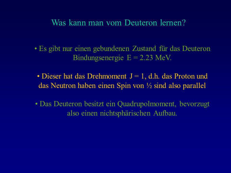 Was kann man vom Deuteron lernen? Es gibt nur einen gebundenen Zustand für das Deuteron Bindungsenergie E = 2.23 MeV. Dieser hat das Drehmoment J = 1,